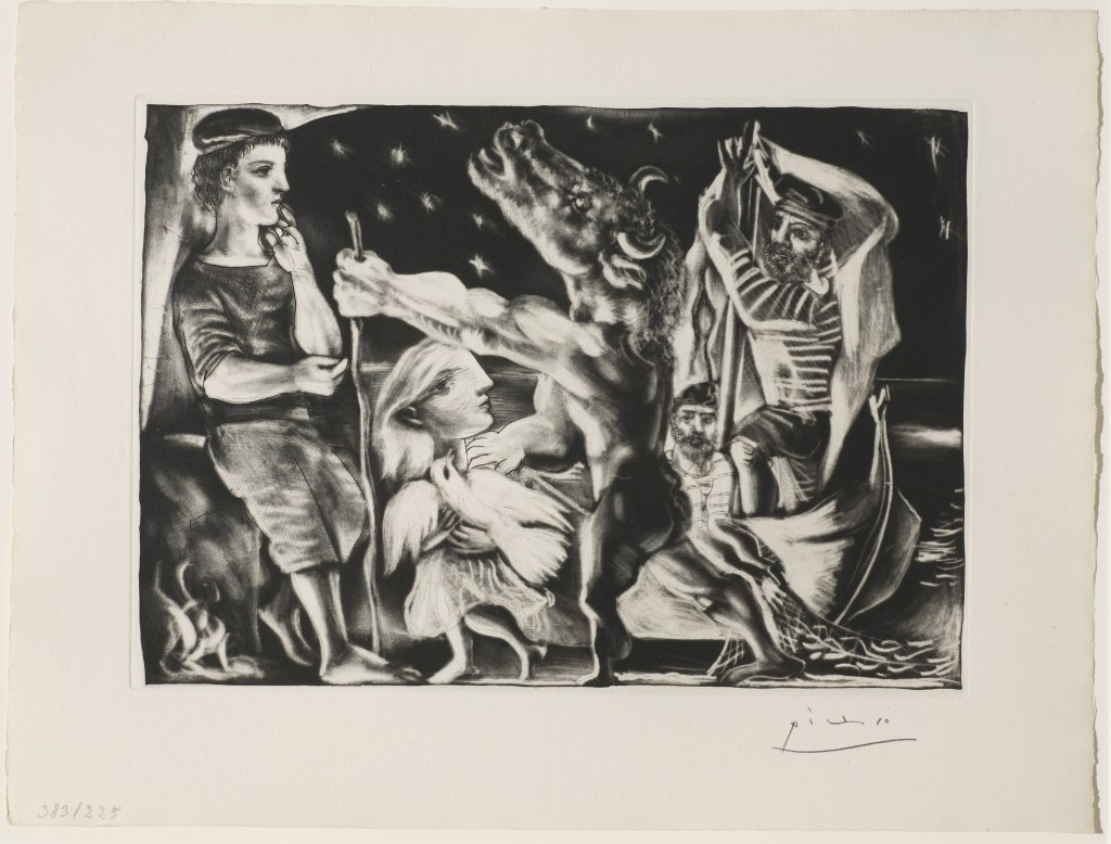 "Pablo Picasso, ""Blind Minotaur, Guided through a Starry Night by Marie-Therese with a Pigeon),"" 1934-35 from the Suite Vollard, 1930-37. Aquatint, drypoint, and engraving with scraping, edition of 250, Anonymous loan."