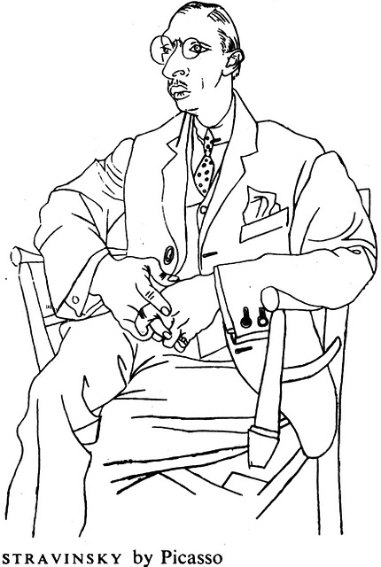 Stravinsky, by Picasso, 1920. Wikimedia Commons.