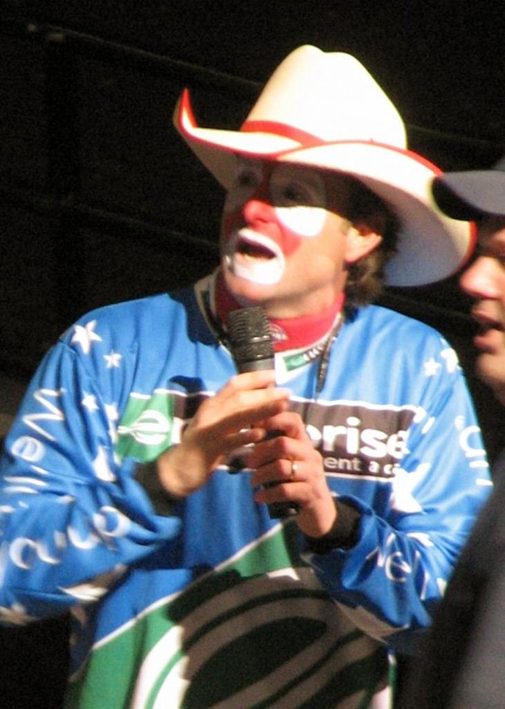Rodeo clown Flint Rasmussen, April 14, 2007. Photo: Dave Hogg/Wikimedia Commons.