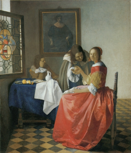"""Girl With a Glass of Wine"" by Vermeer. Image courtesy of Essential Vermeer."