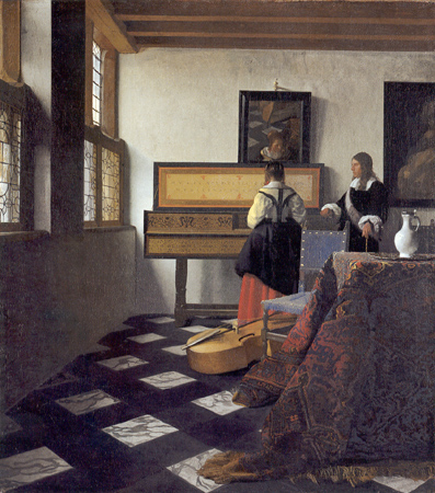The Music Lesson, (De muziekles), c. 1662-1664, oil on canvas, The Royal Collection, Buckingham Palace, London. (Image courtesy of the Essential Vermeer.)
