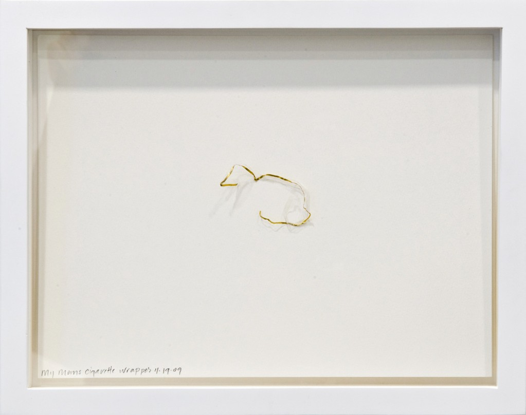 "Nan Curtis, ""My Mom's Cigarette Wrapper"" 2009 cigarette wrapper, paper, frame"