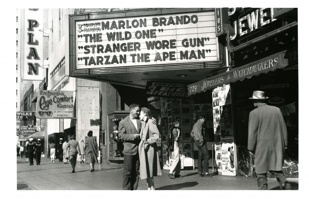 "Allen Ginsberg, ""Neal Cassady and Natalie Jackson conscious of their roles in Eternity,"" Market Street, San Francisco, 1955 gelatin silver print 16 x 20"" framed"