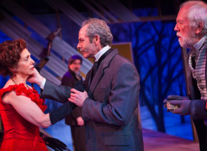 "Like a string quartet: Linda Alper, Tim Blough (background), Michael Mendelson and Tobias Andersen in ""The Cherry Orchard."" Photo: Owen Carey"