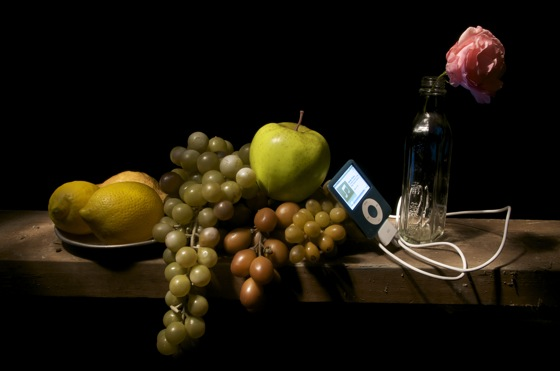 """Still Life with Lemons, Grapes and Apple,"" Kerry Davis, at 12x16 Gallery"