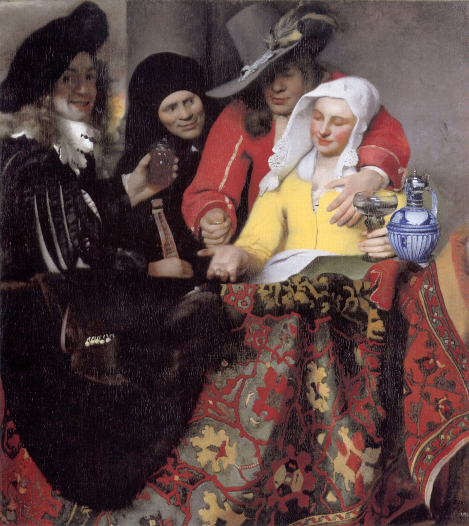"""The Procuress"" by Vermeer, 1656, oil on canvas, Staatliche Kunstsammlungen Alte Meister (Gemäldegalerie Alte Meister), Dresden/Essential Vermeer"