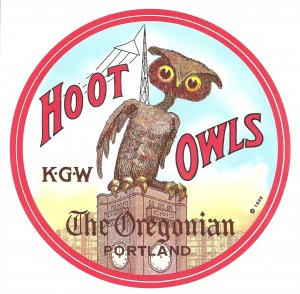 "Logo for the radio hit ""Hoot Owls,"" which featured Blanc. Courtesy Mark Moore, NW Vintage Radio Society."