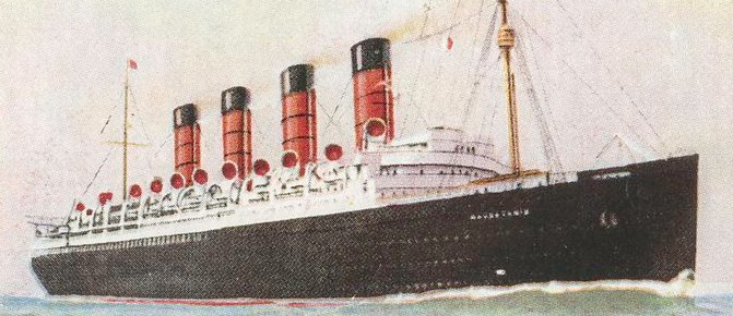 Drawing of the RMS Mauretania, from a cigarette card, ca. 1922-29. New York Public Library/Wikimedia Commons