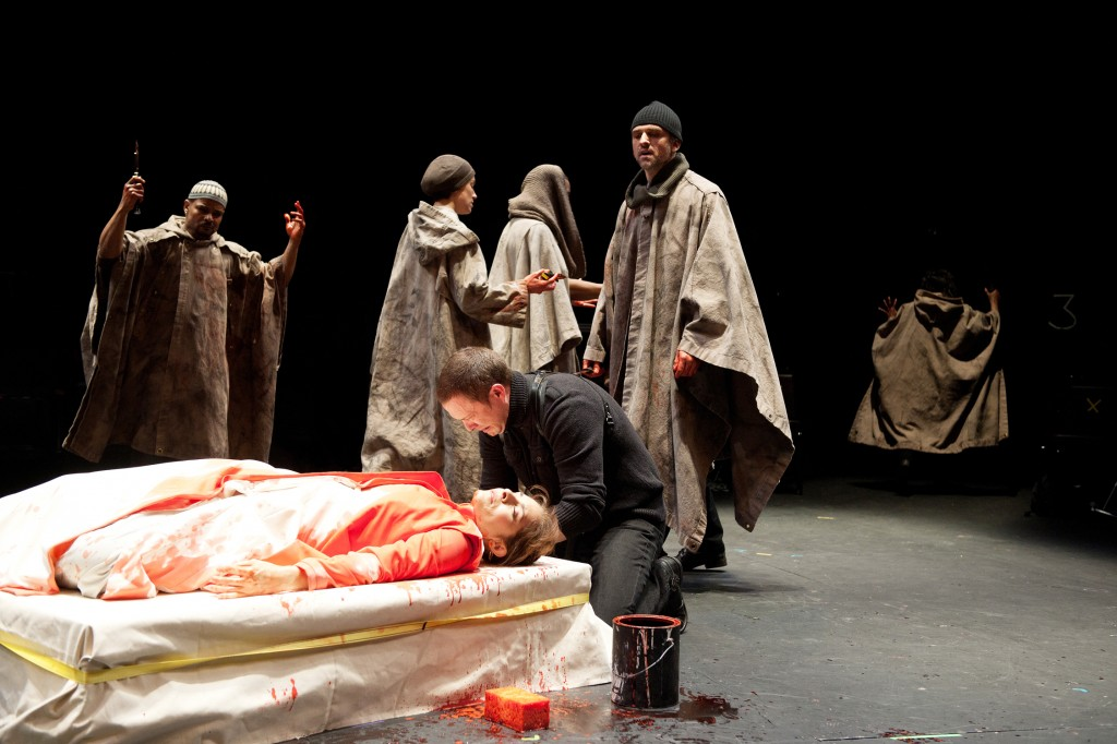 Mark Antony (Danforth Comins) grieves for his dead Caesar (Vilma Silva). Photo: Jenny Graham.