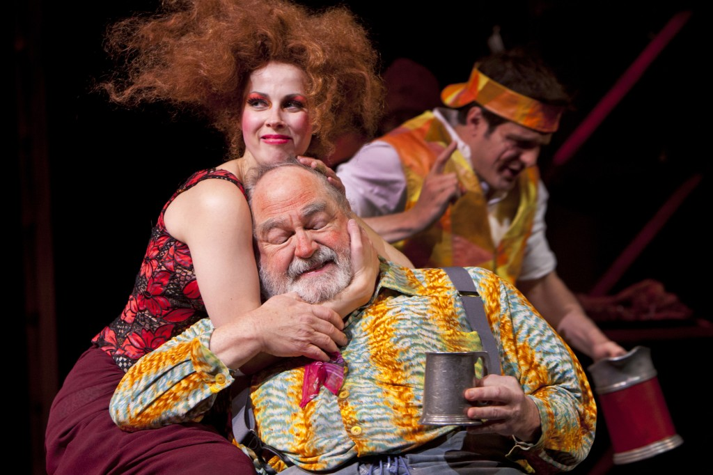 "Doll Tearsheet (Nell Geisslinger), Falstaff (Michael Winters) and a disguised Prince Hal (John Tufts) in ""Henry IV, Part Two."" Photo: T. Charles Erickson/Oregon Shakespeare Festival"