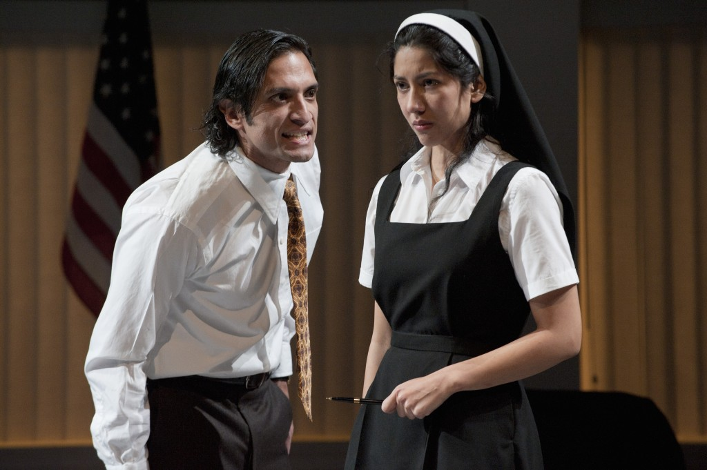 Angelo (René Millán) will have his way with Isabela (Stephanie Beatriz). Photo: David Cooper/Oreon Shakespeare Festival