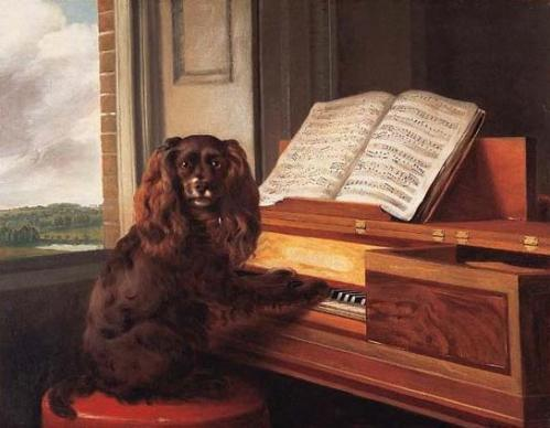 """Portrait of an Extraordinary Musical Dog,"" oil on canvas (presumed), by the British artist Philip Reinagle, R.A. Dated 1805. From the collection of the Virginia Museum of Fine Arts. Image courtesy of janeaustensworld blog."