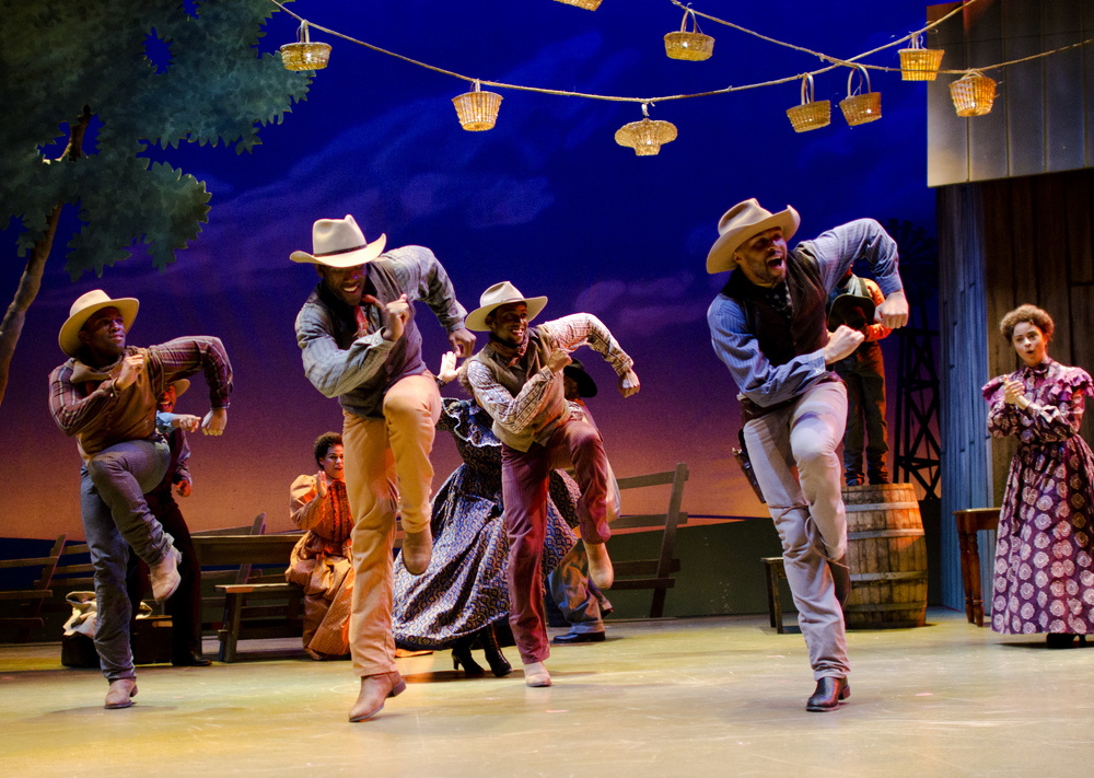 "Gregory J. Hanks, Timothy Ware, Jurran Muse and Don Kenneth Mason put some kick into ""Oklahoma!"" Photo: Patrick Weisenhampel"
