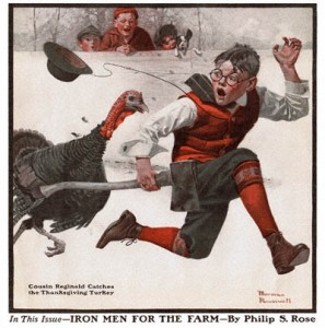 "Norman Rockwell's ""Cousin Reginald Catches the Thanksgiving Turkey"" (1917), copyright 1917, The Country Gentleman and Curtis Publishing Co."