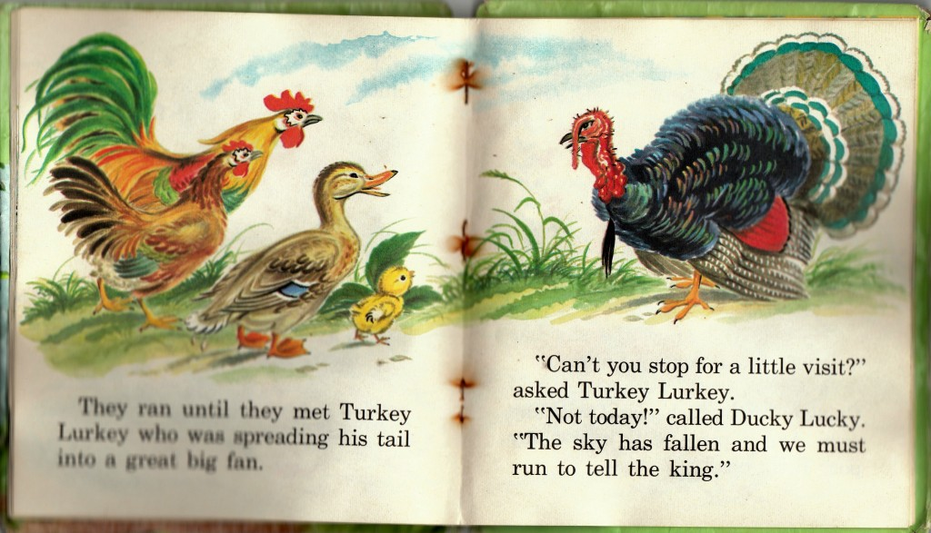 "Turkey Lurkey is on the job in the ""Chicken Little"" book I had as a kid. It's blurry because I once left it in the rain. Pictures by Marjorie Hartwell. Thank you Whitman Publishing Company for some good times growing up."