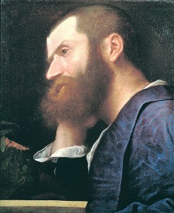 Pietro Aretino, first portrait by Titian, c. 1512, at the Galleria Palatina in Palazzo Pitti in Florence.