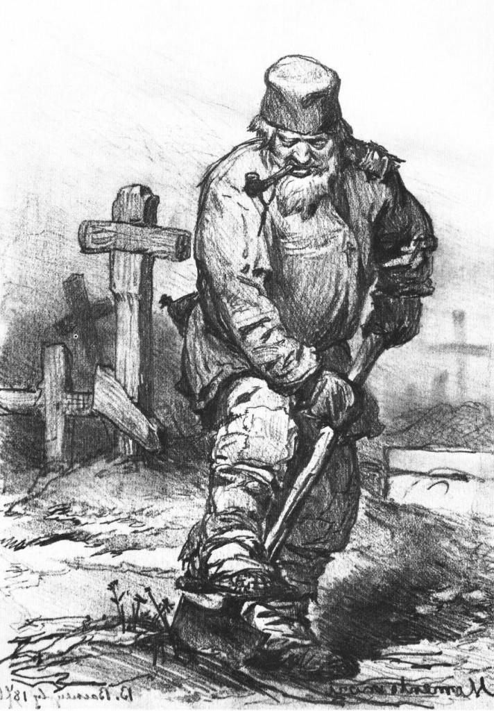 """""""Grave-digger,"""" Viktor Vasetsov, 1871. Tretyakov Gallery, Moscow/Wikimedia Commons."""