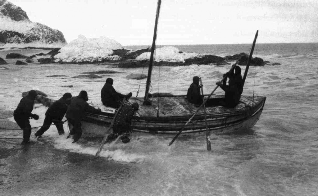 "Launch of the lifeboat James Caird from the shore of Elephant Island, April 24, 1916. Published in Shackleton's book, ""South,"" William Heinemann, London 1919. Photo is probably by Frank Hurley, the expedition's photographer. Wikimedia Commons"