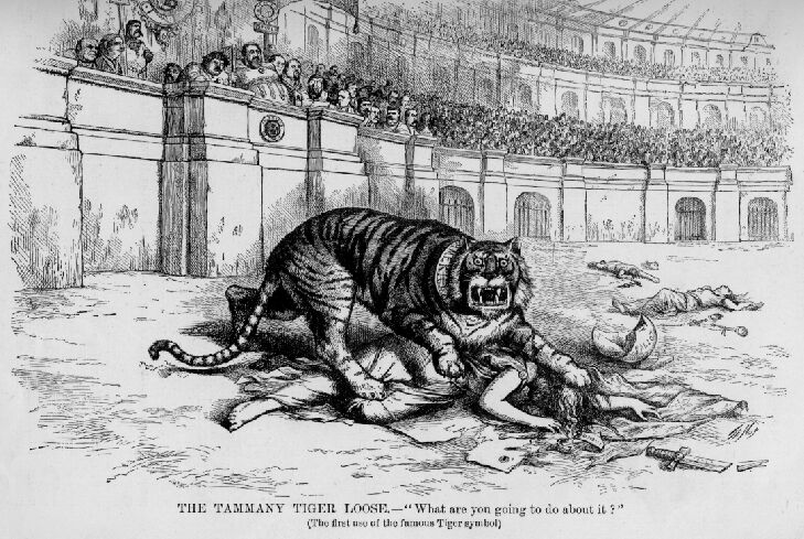 "The Tammany Tiger Loose—""What are you going to do about it?"", published in Harper's Weekly in November 1871, just before election day"