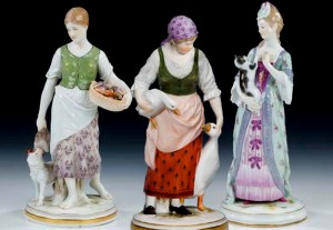Pristine peasantry: three procelain figures for Meissen by Jacob Ungerer (1840-1920). Wikimedia Commons.
