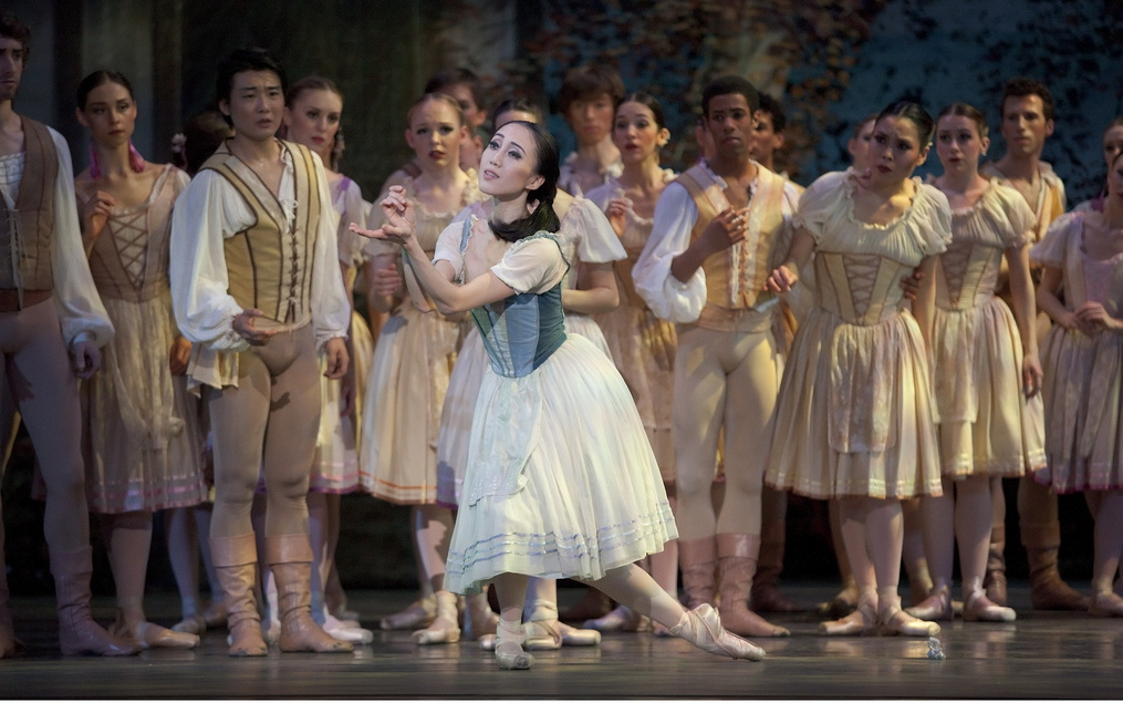 "Giselle (Haiyan Wu) and the peasants in ""Giselle"" at OBT. Photo: Blaine Truitt Covert."