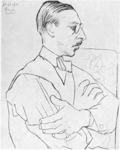 Igor Stravinsky, as drawn by Pablo Picasso, 31 December 1920. Wikimedia Commons