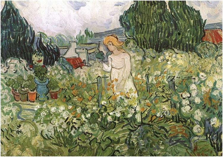 "Vincent Van Gogh, ""Marguerite Gachet in the Garden,"" Oil on Canvas. Auvers-sur-Oise: June, 1890. Musée d'Orsay, Paris."