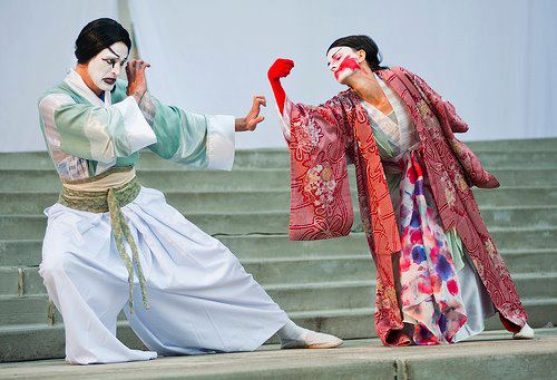 "Ty Boice and Anne Mueller in ""Kabuki Titus."" Courtesy Bag&Baggage"