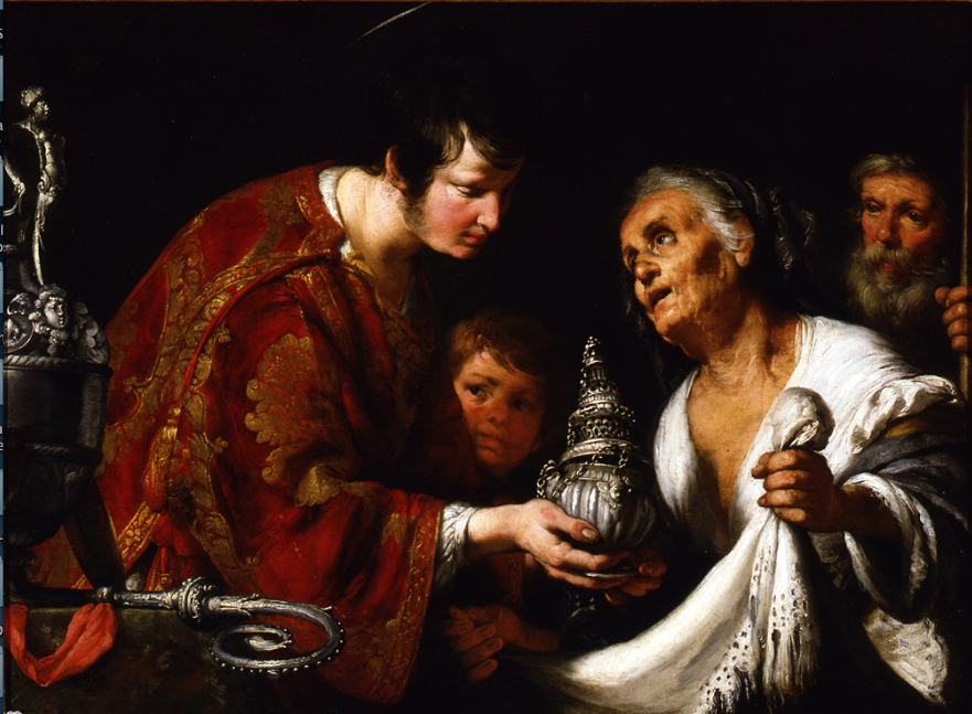 "Bernardo Strozzi, ""St. Lawrence Giving the Treasures of the Church to the Poor."" Early 17th century."
