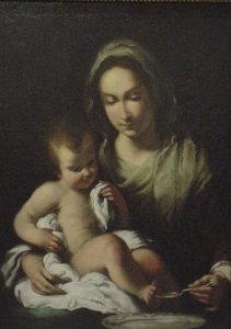 "Bernardo Strozzi, ""Madonna della Pappa,"" oil on canvas, first half 17th century"