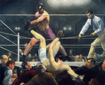 "The candidates, debating in typical restrained fashion. (George Bellows, ""Dempsey and Firpo,"" 1924, oil on canvas, 5 x 63.3 inches, Whitney Museum of American Art / Wikimedia Commons)"